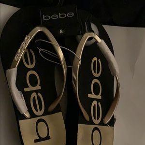 New Bebe Black Gold Jeannie wedge 8 NWT